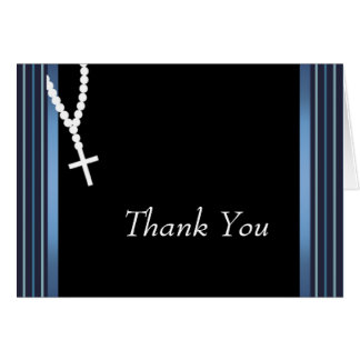 Elegant Black and Blue Rosary Thank You Cards