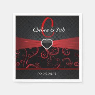 Elegant Black and Deep Red Floral Pattern Paper Napkins