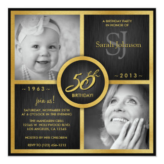 "Elegant Black and Gold 50th Birthday 5.25"" Square Invitation Card"