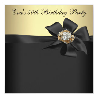 Elegant Black and Gold 50th Birthday Party Invites