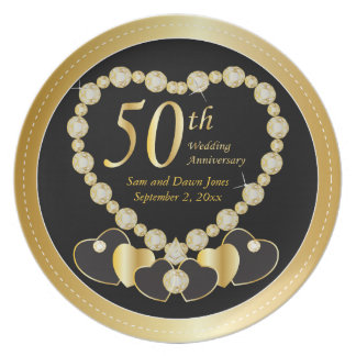 Elegant Black and Gold 50th Golden Anniversary Party Plate