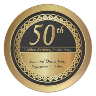 Elegant Black and Gold 50th Golden Anniversary Plates