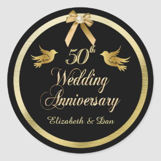 Elegant Black and Gold 50th Wedding Anniversary Classic Round Sticker