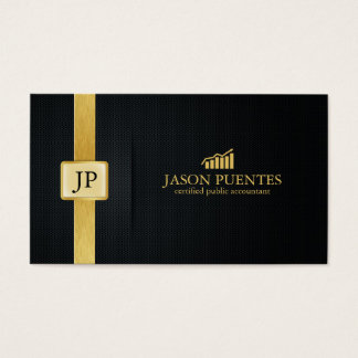 Elegant Black and Gold Accounting with graph logo Business Card