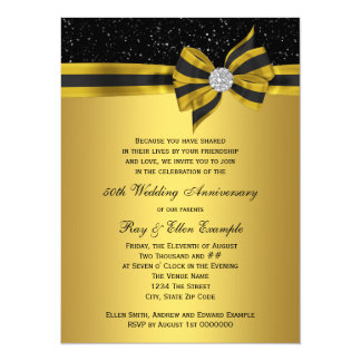Elegant Black and Gold Bow 50th Anniversary Party Card