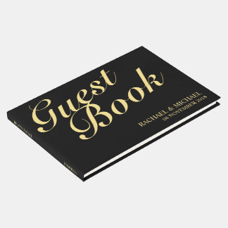 Elegant Black and Gold Calligraphy Wedding Guest Book