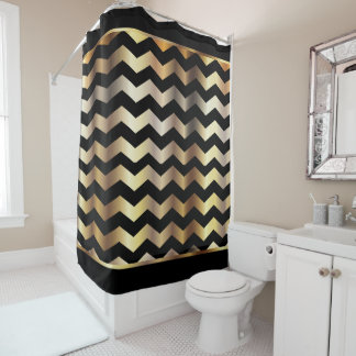Elegant Black and Gold Chevron Stripes