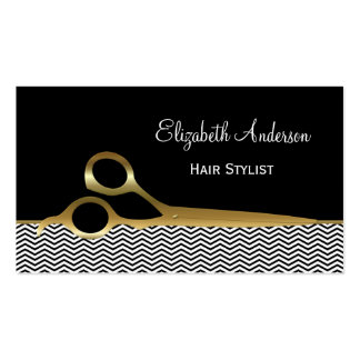 Elegant Black and Gold Chevrons Hair Salon Pack Of Standard Business Cards