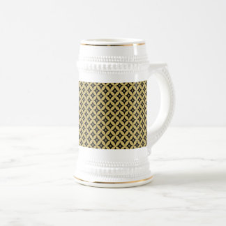 Elegant Black and Gold Circle Polka Dots Pattern Beer Stein