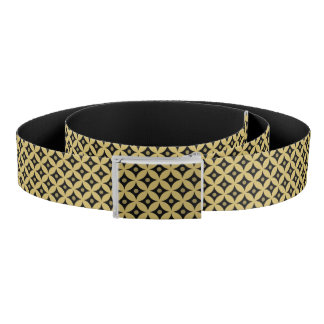 Elegant Black and Gold Circle Polka Dots Pattern Belt