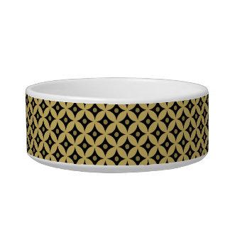 Elegant Black and Gold Circle Polka Dots Pattern Bowl