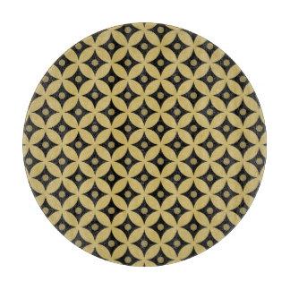 Elegant Black and Gold Circle Polka Dots Pattern Cutting Board
