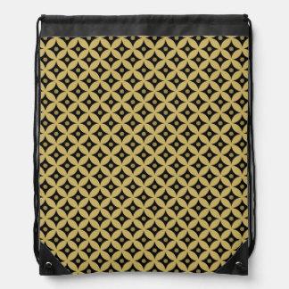 Elegant Black and Gold Circle Polka Dots Pattern Drawstring Bag