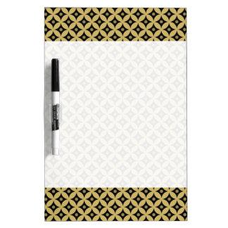 Elegant Black and Gold Circle Polka Dots Pattern Dry Erase Board