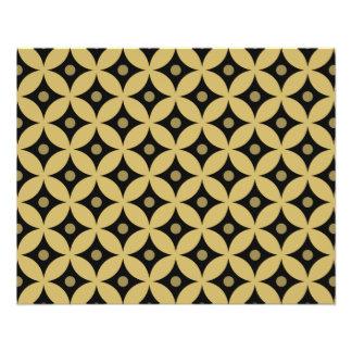 Elegant Black and Gold Circle Polka Dots Pattern Flyer