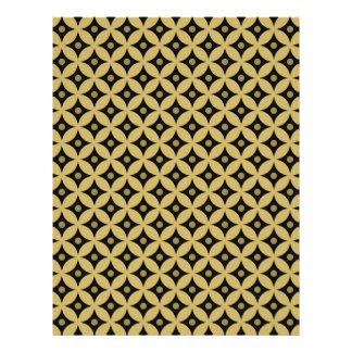 Elegant Black and Gold Circle Polka Dots Pattern Letterhead