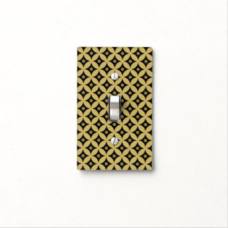 Elegant Black and Gold Circle Polka Dots Pattern Light Switch Cover