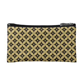 Elegant Black and Gold Circle Polka Dots Pattern Makeup Bag