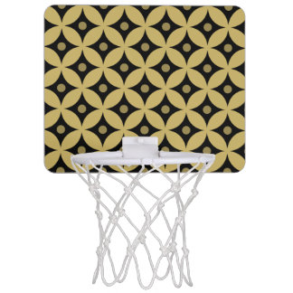 Elegant Black and Gold Circle Polka Dots Pattern Mini Basketball Hoop