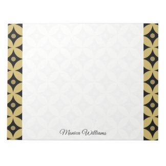 Elegant Black and Gold Circle Polka Dots Pattern Notepad