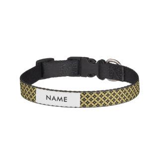 Elegant Black and Gold Circle Polka Dots Pattern Pet Collar