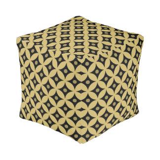 Elegant Black and Gold Circle Polka Dots Pattern Pouf