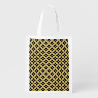 Elegant Black and Gold Circle Polka Dots Pattern Reusable Grocery Bag