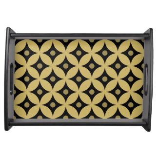 Elegant Black and Gold Circle Polka Dots Pattern Serving Tray