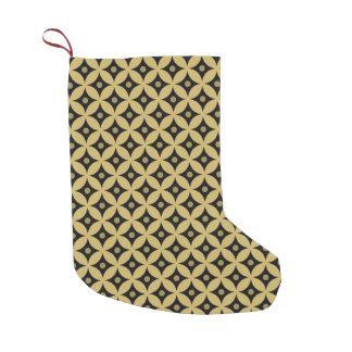 Elegant Black and Gold Circle Polka Dots Pattern Small Christmas Stocking