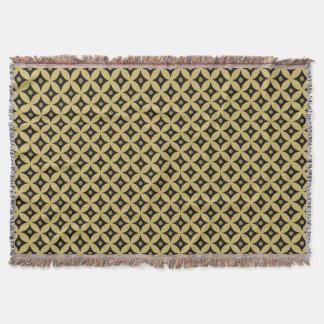 Elegant Black and Gold Circle Polka Dots Pattern Throw Blanket