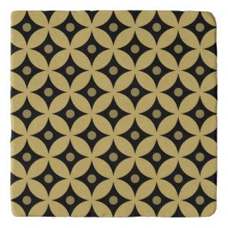 Elegant Black and Gold Circle Polka Dots Pattern Trivet