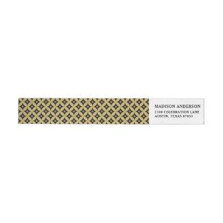 Elegant Black and Gold Circle Polka Dots Pattern Wrap Around Label