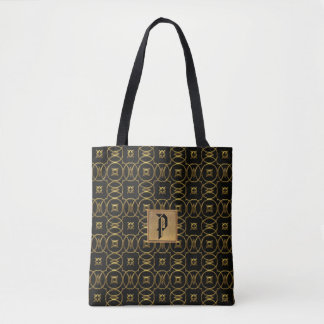 Elegant Black and Gold Circles Monogram Tote Bag
