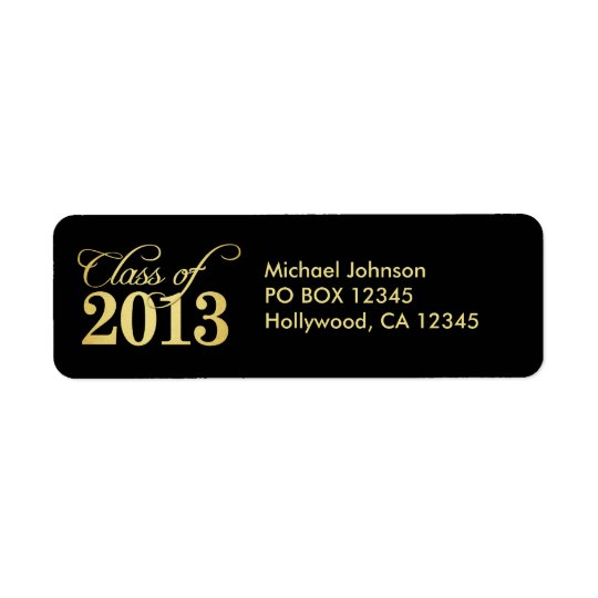 Elegant Black and Gold Class of 2013 Return Address Label