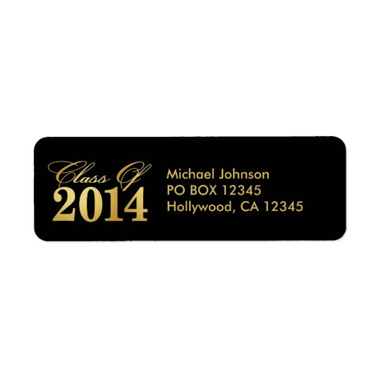 Elegant Black and Gold Class of 2014 Return Address Label