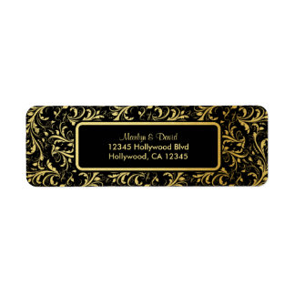 Elegant Black and Gold Damask Return Address Label