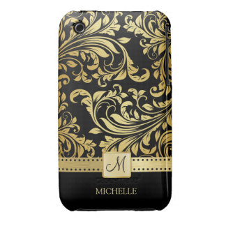 Elegant Black and Gold Damask wiht Monogram iPhone 3 Case-Mate Cases