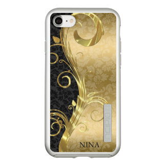 Elegant Black And Gold Damask With Gold Swirl Incipio DualPro Shine iPhone 8/7 Case