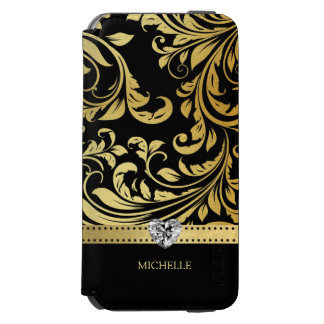 Elegant Black and Gold Damask with Monogram Incipio Watson™ iPhone 6 Wallet Case