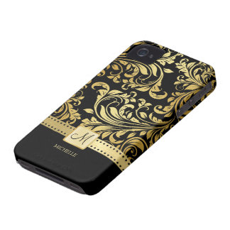 Elegant Black and Gold Damask with Monogram iPhone 4 Case-Mate Case