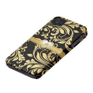 Elegant Black and Gold Damasked Monogram iPhone 4 Case-Mate Case