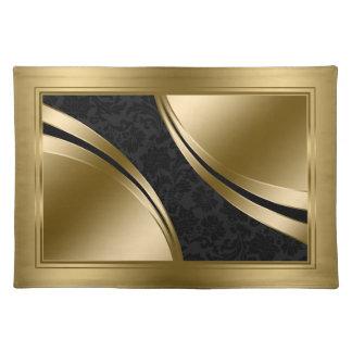 Elegant Black And Gold Damasks Place Mat