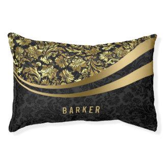 Elegant Black And Gold Floral Damasks 2 Pet Bed