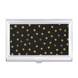 Elegant Black And Gold Foil Confetti Dots Business Card Holder