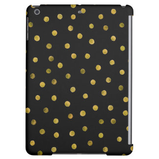 Elegant Black And Gold Foil Confetti Dots Case For iPad Air