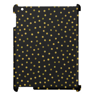 Elegant Black And Gold Foil Confetti Dots Cover For The iPad