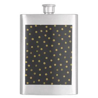 Elegant Black And Gold Foil Confetti Dots Flask