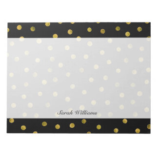 Elegant Black And Gold Foil Confetti Dots Notepad
