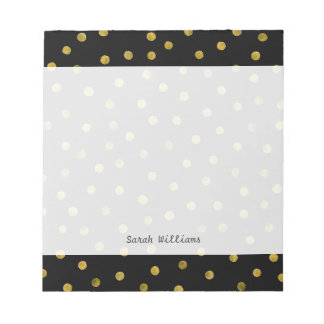 Elegant Black And Gold Foil Confetti Dots Notepads