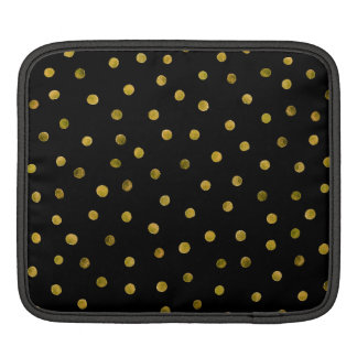 Elegant Black And Gold Foil Confetti Dots Sleeves For iPads
